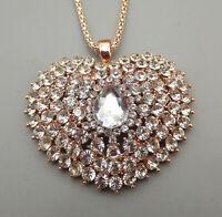 Clear Crystal Rhinestone Heart Pendant Betsey Johnson Sweater Necklace