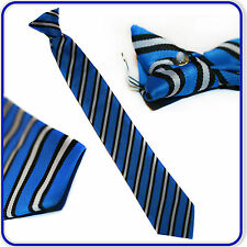 "Brand New Good Quality Boys Girls Senior Special Striped 17"" Clip on Tie"