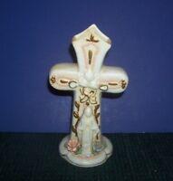 Vintage Ceramic Cross Bud Vase w/ Figure of Mary