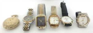 6 PC MIXED LOT MENS WATCHES 5 WRIST 1 POCKET FOR PARTS / REPAIR