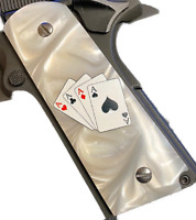 1911 fits Colt & Clones GRIPS ACES White Mother of Pearl IMOP #1