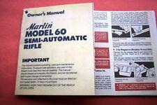 MARLIN MODEL 60 SEMI AUTO 22 Caliber RIFLE OWNER'S MANUAL, dated 1/1984