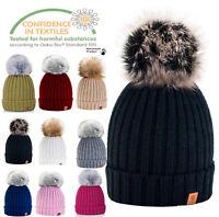 Womens Knitted Ski Cap Warm Winter Wool Knit Beanie Hat Large Faux Pom Bobble 1