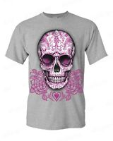 Sugar Skull Cross Pink Roses T-Shirt Day of the Dead Los Muertos Halloween Tees