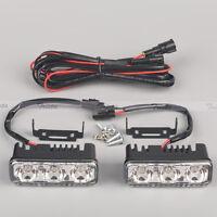 2Pcs 3LED 12V White High Power Car DRL Daytime Running Light Fog Lamp Universal