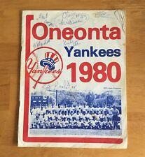 1980 Oneonta Yankees New York Yankees Vintage NYPL MiLB Program with Signatures