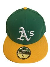 MLB Oakland A's Athletics Fitted Cap Hat New Era Size 7 3/8 Made In USA 🇺🇸