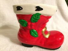 Santa Boot Planter with Holly and Berries. Ceramic. Ardco Fine Quality Dallas
