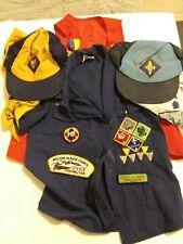 BSA Vintage 80's Cub Scout Uniform Shirt Webelos Patches Badges Sz 10 Kids Lot