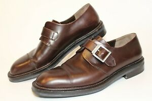 Salvatore Ferragamo Mens 9 D Leather Buckle Monk Strap Italy Made Shoes TD4130