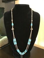 Vintage Navajo Turquoise and Silver tone beaded necklace
