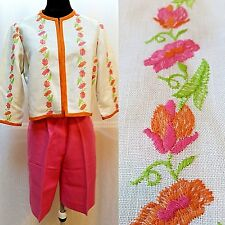 Vtg-Robertson'S Embroidered Linen Jacket And Matching Shorts-Size S-Euc
