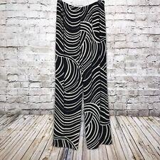 Chicos Travelers Size 2 Regular Pant Black Beige Swirl Stretch Slinky Pull On