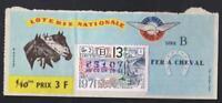 TICKET  ANNÉE 1971   LOTERIE NATIONALE   sur le thème du cheval