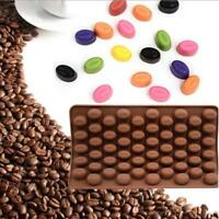 55 Mini Coffee Bean Shape Silicone Mould Cake Chocolate Candy Bakeware Mold - S