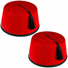 Rosso Tinta Unita Cravatta A Farfalla BRETELLE FEZ CAPPELLO MAROCCHINO TURCO Fancy Outfit Set