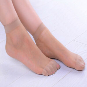 10 Pairs Women Solid Ultra-Thin Elastic Transparent Short Stockings Ankle Socks