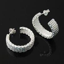 New Fashion Silver Plated Hoop Earrings Mesh Earring Women lady Girl M6M