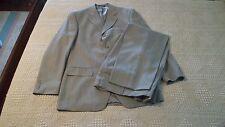 S & K 2PC Suit, Color Pen Stripe Dark Beige, Coat 40R, Pants 34WR