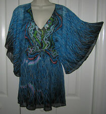 NWT MEGHAN FABULOUS BLUE SILK WATERCOLOR KIMONO SLV TOP TUNIC MINI DRESS XS 2