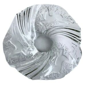 Holiday Christmas Decorative Reindeer Clear Textured Glass Dish Serving Piece
