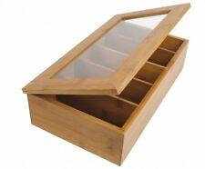 Caja de Almacenaje Para Té En Bambú 5 , Cubierta Vidriado 37x 20x9cm