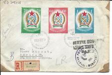 HONGRIE ENVELOPPE COURRIER RECOMMANDE 1950 VERS LA FRANCE VOIR CACHETS ET TIMBRE