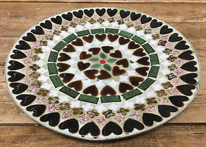 """Green Brown White Hearts Enamel on Metal MCM MOD Large Plate Bovano Bower 11"""""""