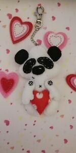 Valentines Cute Loved-Up Panda Felt Handbag/Keyring Decoration