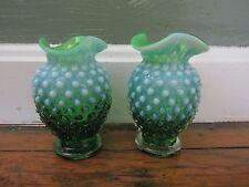 Fenton Lime Green Opalescent Set of Bud Vases