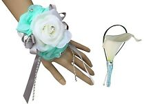 2pc Set - Wrist Corsage and Boutonniere: Aqua/Mint Green and Ivory (BCset-05)