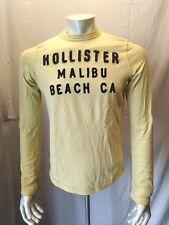 Hollister Malibu Beach CA Men's Yellow Long Sleeve Crew Neck T Shirt Size Small