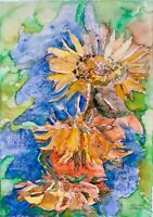 ORIGINAL watercolor painting on paper artwork from artist signed flowers art