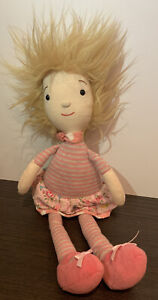 Jellycat Little Girl Plush Doll Blonde Pink/Flower  Striped Outfit Stuffed Soft