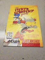 Itchy & Scratchy Game (Super Nintendo Entertainment System, 1995) Manual MINT
