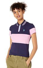 U.S. Polo Assn. Women's Essential Zip Close Pique Polo Shirt Blue Pink Size S