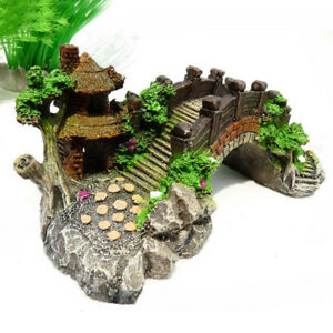 Small Aquarium Resin Bridge Landscape Fish Tank Ornament Pavilion Tree Decor GY