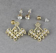 gold crystal ear jacket front back earrings double look stud spike 2 pair post