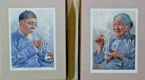 Vintage watercolor prints Asian man and woman smoking water pipes 8 x 10 framed