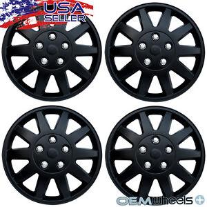 "4 New Matte Black 15"" Hubcaps Fits Mitsubishi Suv Steel Wheel Covers Set Hubcap"
