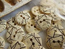 lot 20 boutons créme effet craquelé marron 2 trous couture mercerie 1,5 cm R1998