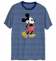 Disney Men's Blue Striped Graphic Mickey Mouse Short-Sleeve T-Shirt Size S