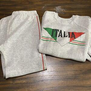 Vintage 70s 80s Majestic Gray Sweatsuit Sweatshirt Sweatpants Italy Tourist