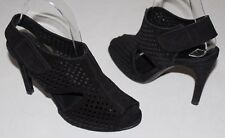 Pedro Garcia 6 Black Suede Cutout Cage Slingback Sandals Leather Sole Spain $350