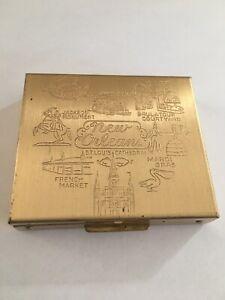 Vintage Gold Tone Pill Box Case St Louis Metal