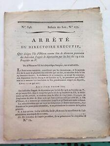 Désignation île d'Oléron comme lieu de détention provisoire,1799.