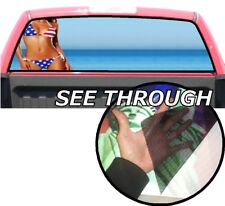 P344 American Flag Mode Rear Window Tint Graphic Decal Wrap Back Pickup Graphics