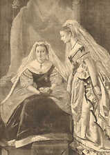 Queen Victoria & Princess Louise, Opening Of Parliment, 1871 Antique Art Print