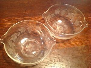 Antique beautifully engraved Glass Victorian finger bowls / Wine cooler Rinser.