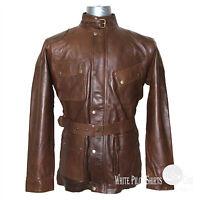 Mens Panther Leather Jacket Benjamin Military Belt Vintage Brown Motorbike Gents
